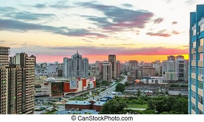 Timelapse of Beautiful Cityscape Sunset at Russia