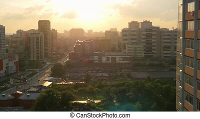 Beautiful view of Novosibirsk skyline at sunset - beautiful...