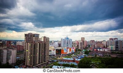 Timelapse of beautiful cloud and sky on cityscape background...