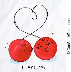 Kisses love cherry with watercolor cherry lettering I love...