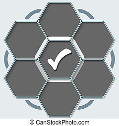 Set of seven hexagons for your text and check box