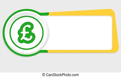Vector abstract button for your text and pound sterling...