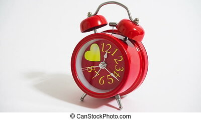 Alarm clock - red alarm clock on a white background-...