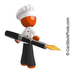 Orange Man Chef Standing With Fountain Pen