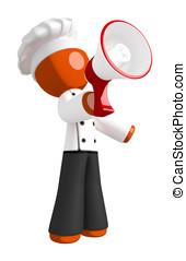 Orange Man Chef Shouting into Megaphone or Bullhorn