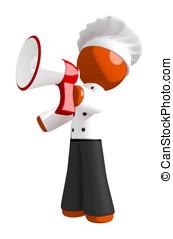 Orange Man Chef Shouting into Megaphone or Bullhorn Left