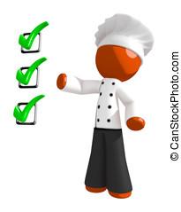 Orange Man Chef Ingredients Checklist Concept