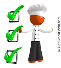 Orange Man Chef Recipe Checklist Concept Large Checkmarks