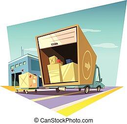 Warehouse cartoon illustration