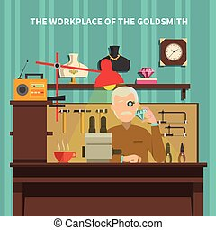 Workplace Of Goldsmith Illustration - Workplace of goldsmith...