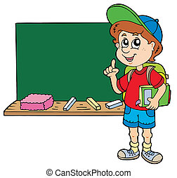 Advising school boy with blackboard - vector illustration