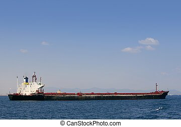 Oil tanker boat over blue Mediterranean sea