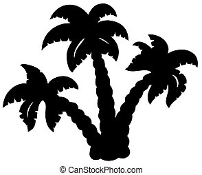 Palm trees silhouette - vector illustration.