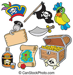 Pirate collection 10 on white background - vector.