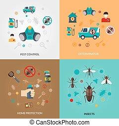 Exterminator Pest Contro 4 Flat Icons - Home pest control...