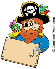 Pirate with parrot holding table - vector illustration