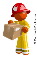 Orange Man Firefighter Delivering Box