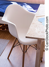 Comfy desk chair - Close up of white comfy desk chair in kid...