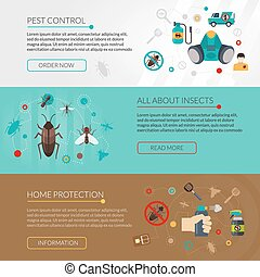 Pest Control Extermination 3 Flat Banners - Interactive...