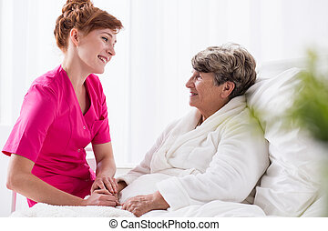 Positive talking to patient - Positive talking to senior...
