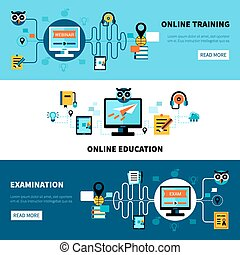 Flat Online Education Banners Collection