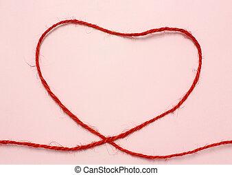 vermelho, corda, Coração, FORMA, ligado,...