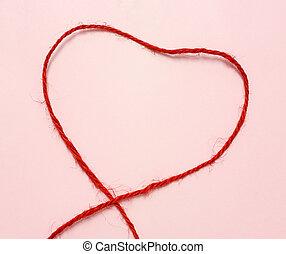 vermelho, corda, Coração, FORMA, ligado, Cor-de-rosa, papel,...