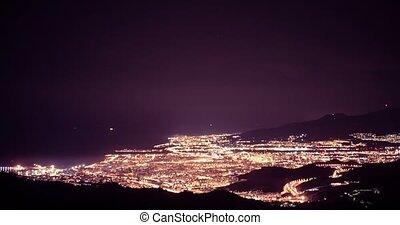 Night time lapse of Malaga on new years eve, Andalusia,...