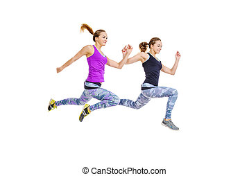 fast run - Two girls athletes running fast Concept of...