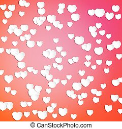 White paper hearts, Valentines day card on red background, vector illustration