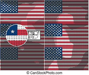 Set of american flags in dirty retro style with abstract halftone effect