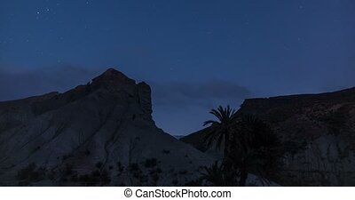 Night time lapse with stars in Sierra Alhamilla, Andalusia, Spain