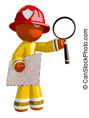 Orange Man Firefighter Holding Envelope and Magnifying Glass