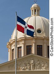 Domincan Republic National Flag and Palace - Santo Domingo -...