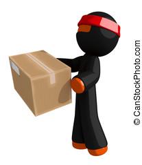 Orange Man Ninja Warrior Delivering Package