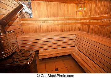 Finnish sauna photo - Interior of Finnish wooden sauna