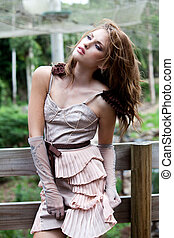 Young Woman in Haute Couture Fashions