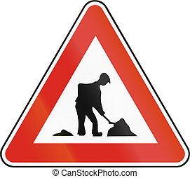 Road sign used in Slovakia - Work
