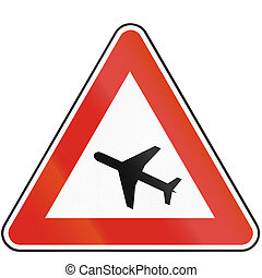 Road sign used in Slovakia - Low flying aircrafts