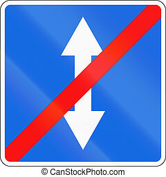 Road sign used in Russia - End of two-way traffic