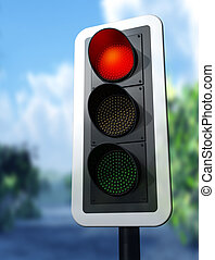 Red traffic light - Illustration of a red traffic light on a...