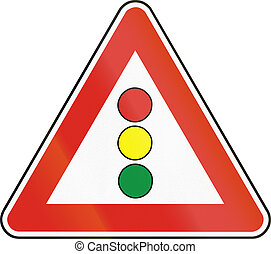 Road sign used in Slovakia - Traffic lights