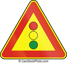 Road sign used in Slovakia - Traffic lights as a temporary...