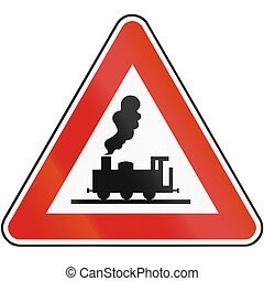 Road sign used in Slovakia - Railroad crossing without gates...