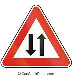 Road sign used in Slovakia - Two-way traffic