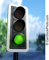 Green traffic light - Illustration of a green traffic light...