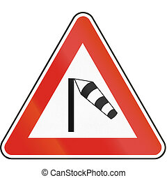 Road sign used in Slovakia - Crosswind