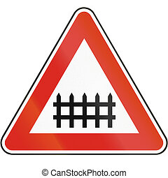 Road sign used in Slovakia - Level crossings with barriers
