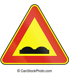 Road sign used in Slovakia - Uneven road as a temporary sign...