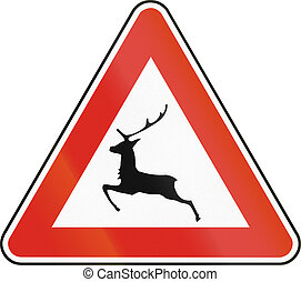 Road sign used in Slovakia - Deer crossing